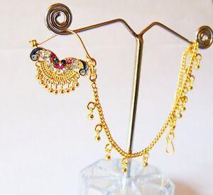 Indian Ethnic Bridal Gold Plated Nathni Designer Nose Ring Wedding Nose Jewelry Ebay