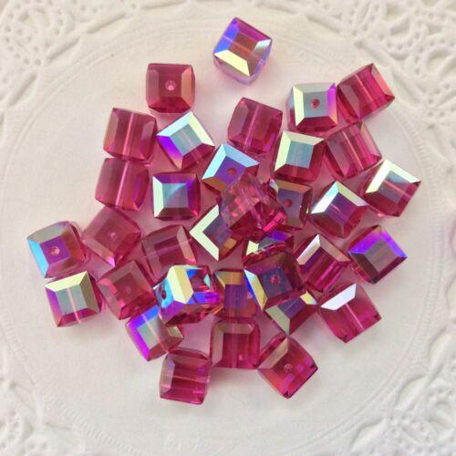 PK Swarovski® Crystal 6mm Cubes #5601 AB Colors// Coats -  Choose Color 24 PC