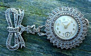 Serviced~ART DECO 1930s EROS Swiss Silver & Marcasite~Nurse-Lapel-Brooch-Watch