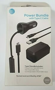 AT&T Type C Power Bundle Car & Home Charger 3pc Set