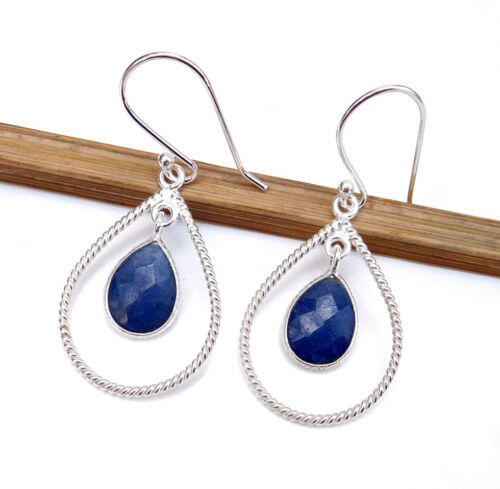Sapphire 925 Sterling Silver Blue Topaz Rose Quartz Choose Stone Earring-E2213