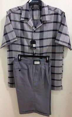 New Men/'s Bagazio White 2 Pc Seerksucker Walking Shirt//Shorts Set,New /& Tags