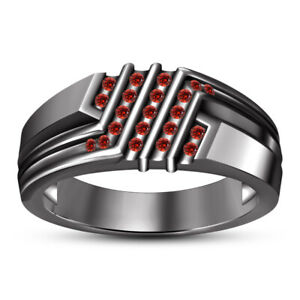 SVC-JEWELS 14k Black Gold Over 925 Sterling Silver Red Garnet Cluster Engagement Wedding Band Ring Mens