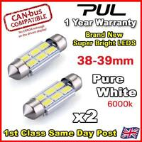 2x ERROR FREE CANBUS PURE WHITE 6 SMD LED 39mm 239 272 C5W NUMBER PLATE BULB