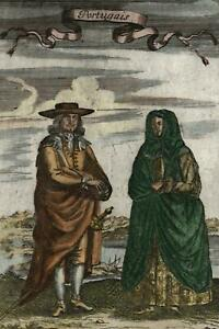 Portugal-Portuguese-natives-1719-old-Mallet-Ethnic-costume-hand-color-print