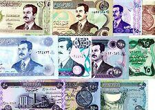 Lot SET SERIE IRAK IRAQ 10 BILLETS DIFFERENTS SADDAM HUSSEIN NEUF UNC