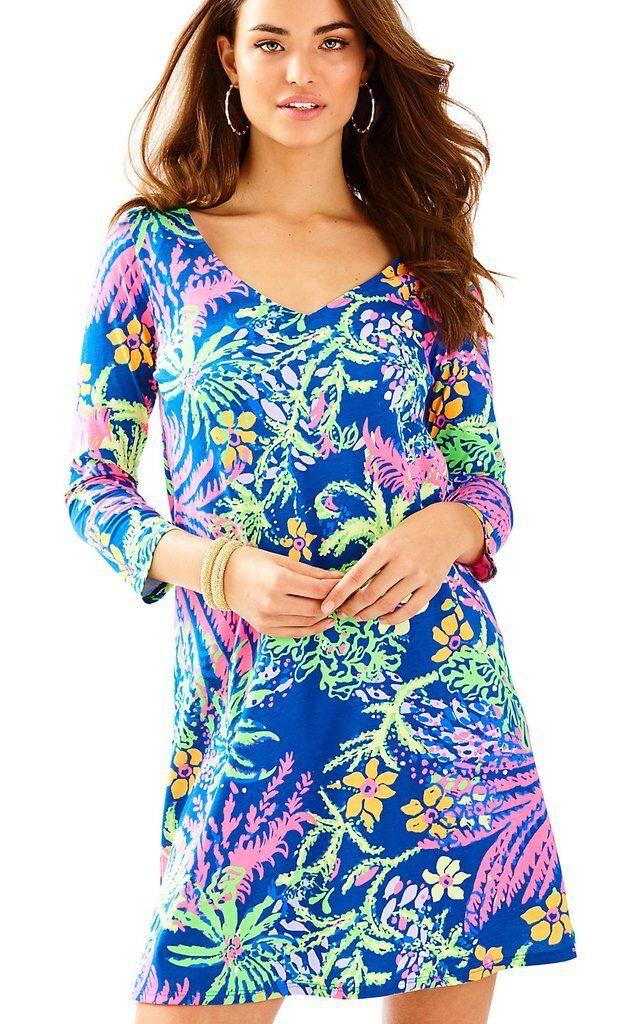 NWT Lilly Pulitzer Erin Dress Indigo All a Glow Größe XS  100% Pima Cotton