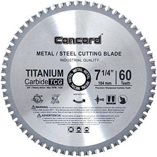 Concord Blades MCB0725T060HP 7-1//4-Inch 60 Teeth TCT Ferrous Metal Cutting Blade