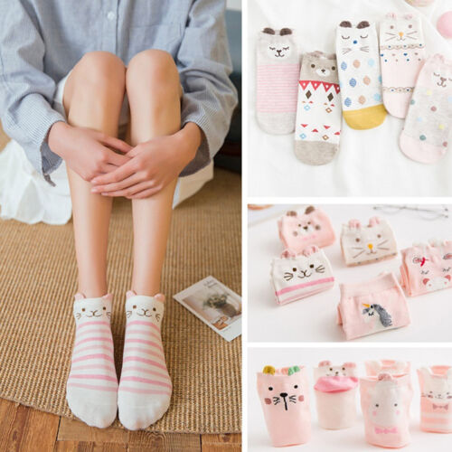 5 pairs Kawaii Cute Women Heart Soft Breathable Ankle High Casual Cotton SockFNV