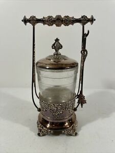 Antique Forbes Pickle Castor 259 Quadruple Plate Silverplate Ornate with Tongs
