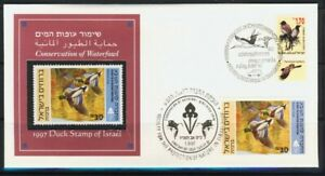 ISRAEL-STAMPS-1997-BIRDS-DUCKS-SPECIAL-FDC-MNH-FAUNA