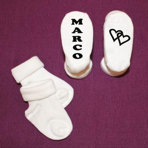 Taufe Geburt Geburtstag Babysocken Baby Socken mit Herzen und Wunschname