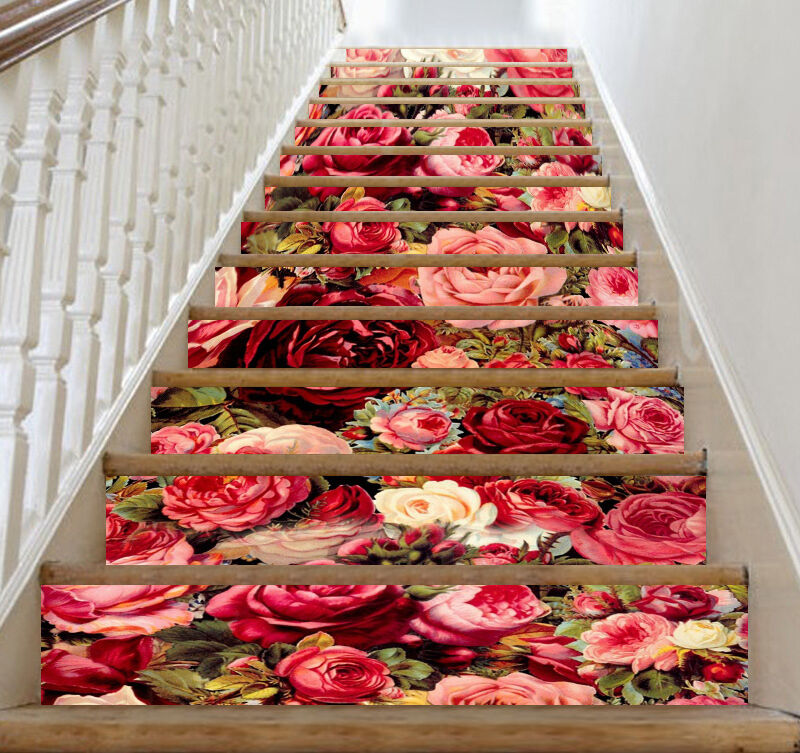 3D Farbe Flowers 42 Stair Risers Decoration Photo Mural Vinyl Decal Wallpaper UK