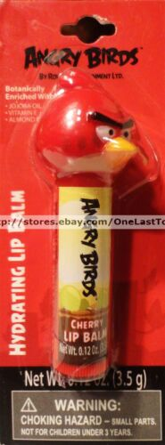 ANGRY BIRDS* Lip Balm//Gloss CHERRY w// RED BIRD Head Topper HYDRATING carded