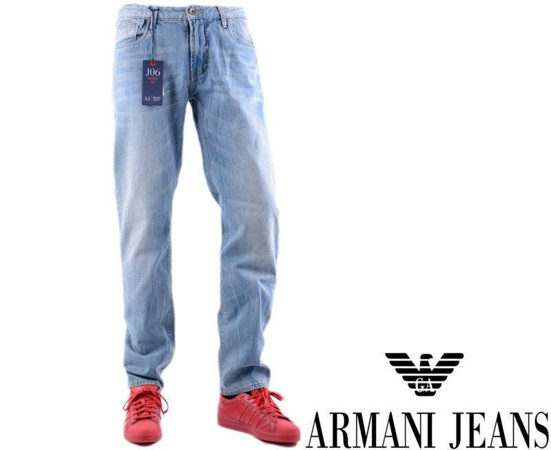 ARMANI JEANS J06 J834C W40 L32 Mens Denim Jeans Slim Fit Tight Leg Zip Fly