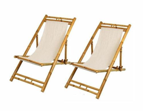 2er Set-bois chaise chaises BEIGE jardin Chaise longue pliable Transat transat Bambou Nature