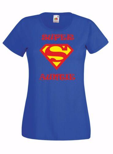 SUPER Auntie Mothers day present gift Ladies kids Crew neck T Shirt blue black