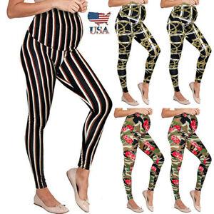 US-Women-Maternity-Leggings-Seamless-Print-Long-Pants-Stretch-Pregnancy-Trousers