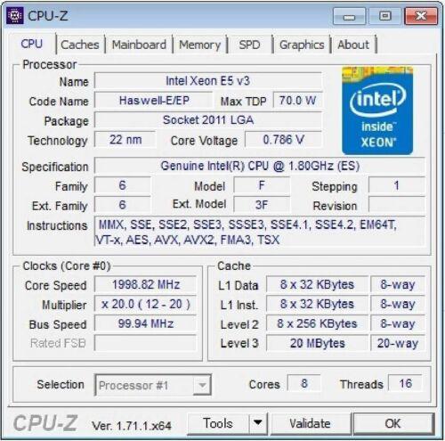 Intel Xeon E5-2630L v3 ES QEYX 1.8GHz 8C LGA2011-3 Compatible X99 i7-6850K