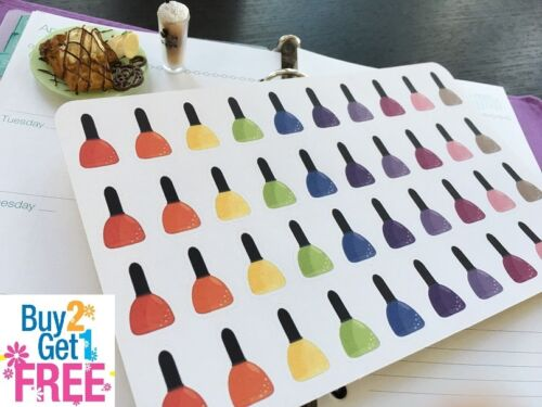 PP030 40pcs BUY2GET1FREE Rainbow Nail Polish Planner Stickers for Erin Condren
