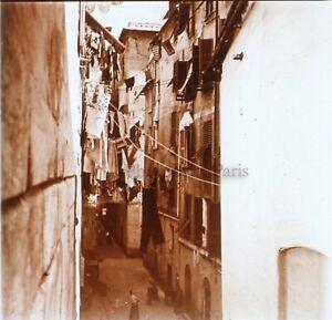 Rue Con Biancheria Italia Spagna Foto Stereo PL58L30n4 Placca Lente