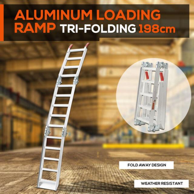 ALUMINIUM TRI-FOLDING LOADING RAMPS For ATV Motobike Motorcycle Trailer  Buggy