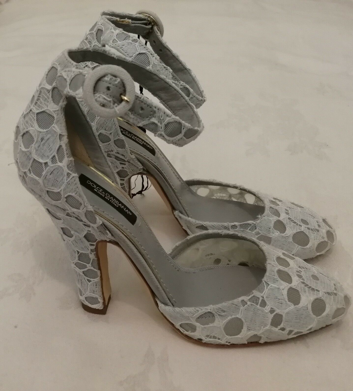Dolce & Lace Gabbana High Heels Embellished Lace & Ankle Strap Damenschuhe Schuhes Grau eu 36 02507c