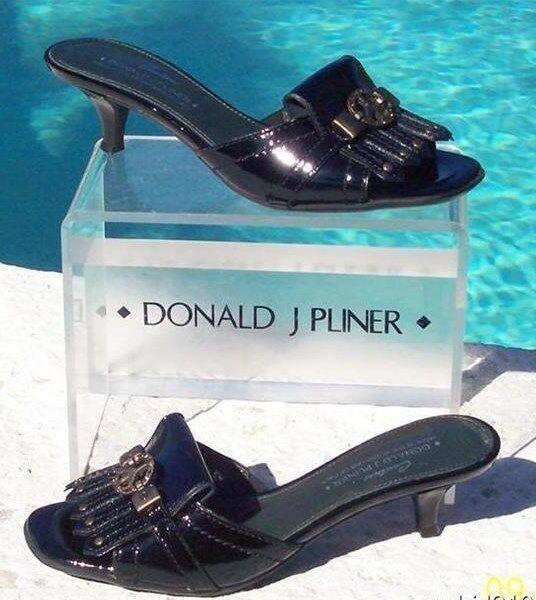 Donald Pliner Couture Patent Patent Couture Leder Slide Schuhe Peace Sign Signature 275 NIB b3a2d2