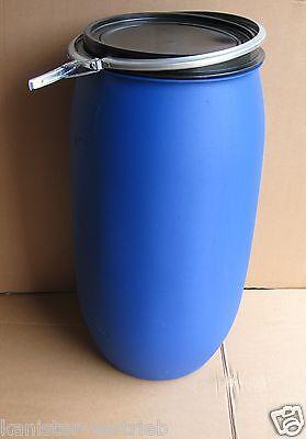 Regenfass Weithalsfass Futtertonne Fass Tonne 220 Liter Farbe blau gebraucht