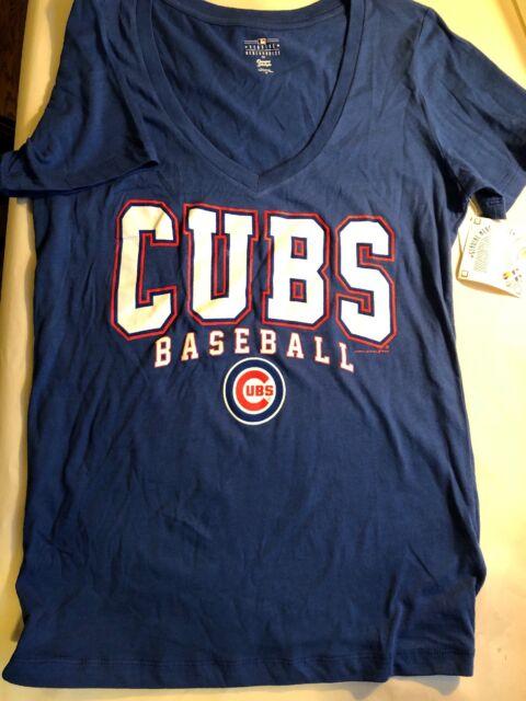 separation shoes 57f13 c4b4d Blue Chicago Cubs Women's Scoop Neck Short Sleeve T-Shirt Size Medium