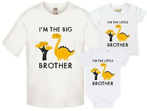 Yellow-Dinosaur-Big-amp-Little-Brother-T-Shirts-amp-Bodysuits-Pregnancy-Reveal-Gift