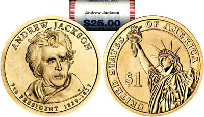 $25 UNC 1 Roll 2008 D Mint Andrew Jackson Uncirculated Presidential Dollars