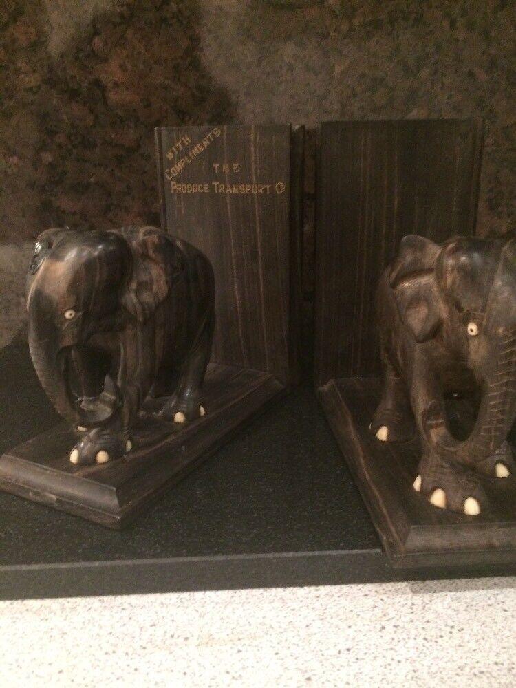 Vintage Damaged Elephant Bookends Food Produce Transport Co Initial JRL No Tusks