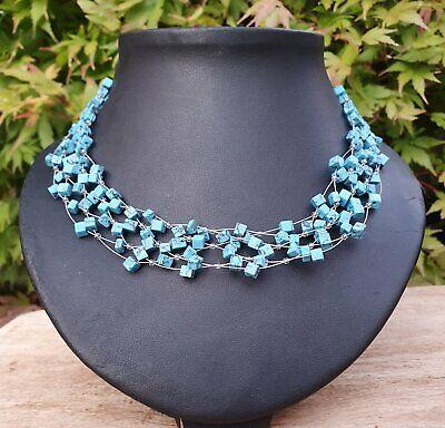 *Freedom Tree/'s *Ladies Turquoise Semi Precious Chunky Gemstone Necklace //Choker