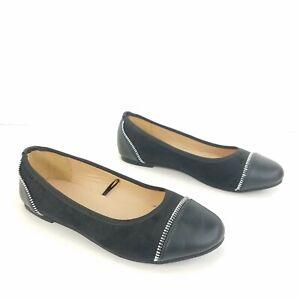Torrid-Shoes-Ballet-Flats-Black-Leather-Suede-Slip-On-Espadrille-Womens-Size-8