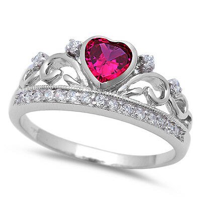 Rose Pink & Cz Crown .925 Sterling Silver Ring Sizes 4-10