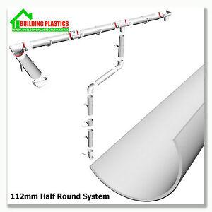 Plastic Half Round Gutter Downpipe Fittings 112mm Half
