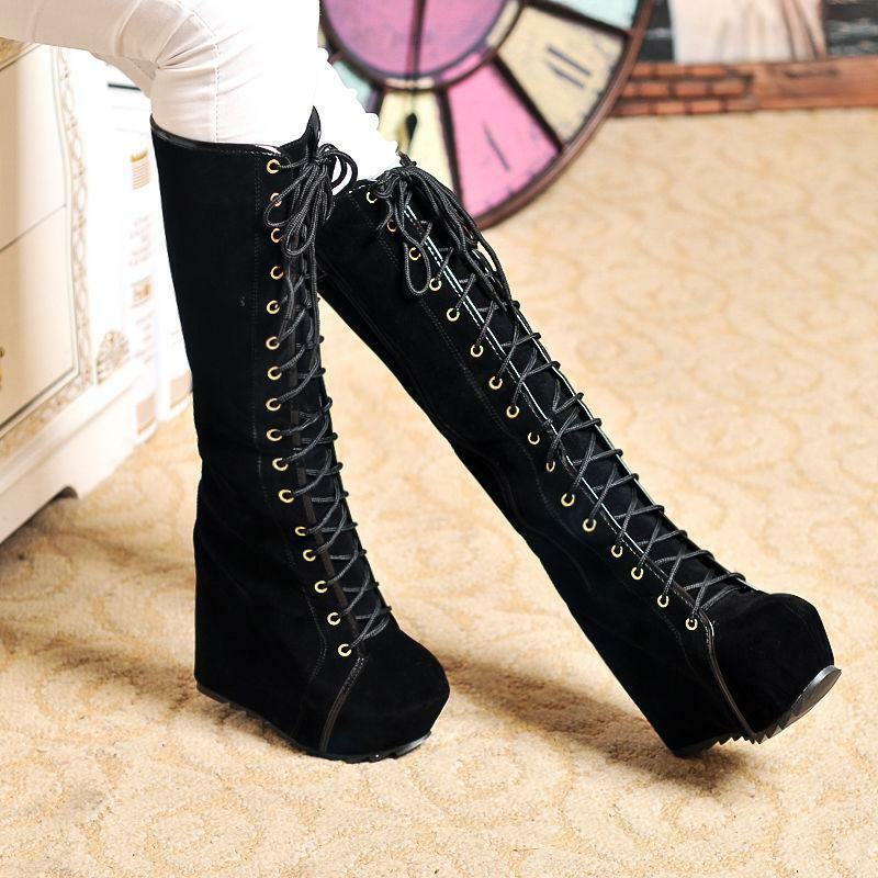 Fashion Womens High High High Wedge Heel Knee Winter Boots Punk Lace Up Platform shoes Hot f0a0ef