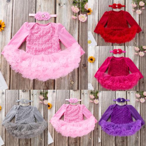 Newborn Toddler Baby Girls Flower Tutu Dress Party Wedding Dress Headband Hot