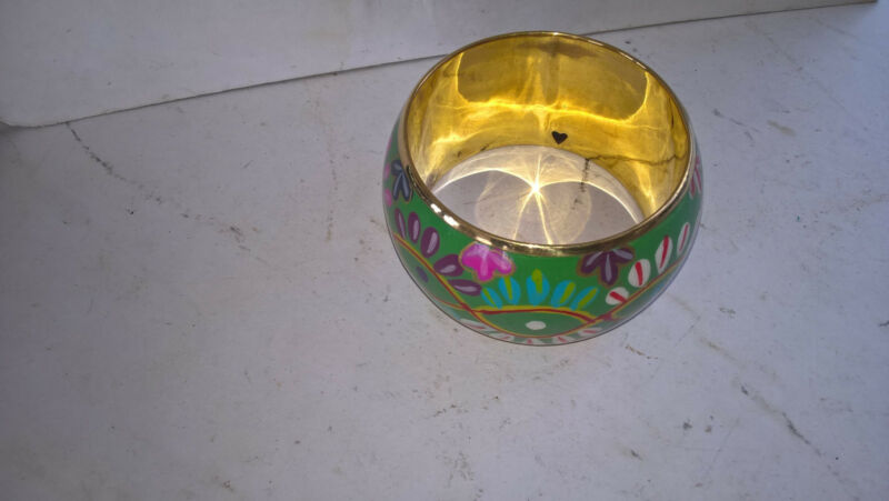 Vintage Hand Crafted Indian Gold Tone/hand Painted Bangle Green