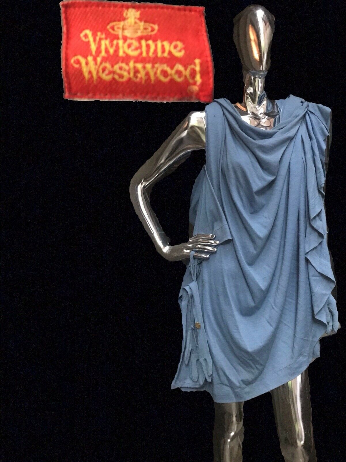 Vivienne Westwood VTG 80s Runway Dress Cape Wool Toga Britain Must Go Pagan Punk