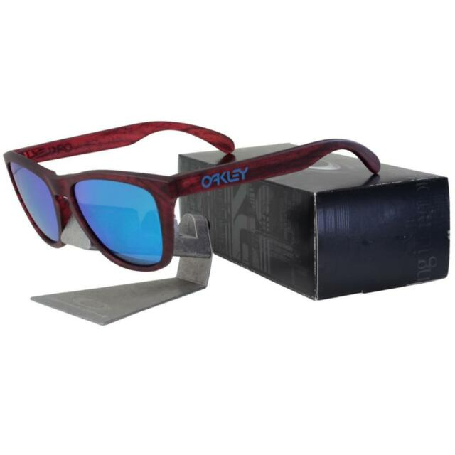 fb301607036 Oakley OO 9013-B755 FROGSKINS Driftwood Matte Red Woodgrain Sapphire  Sunglasses