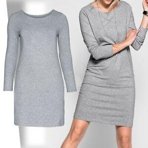 basic zeitlos Jerseykleid Shirtkleid Gr.48/50 GRAU stretch Kleid Tunika Dress