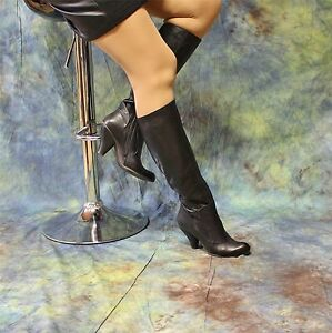 tacco in nera imbuto lunghi forma con pelle di vera Stivali a 4aRBwqxY5