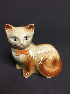 "Vtg Ceramic 5.5"" Cat Figurine Brown Cream Blue Eyes Orange Bow Tie - Brazil"