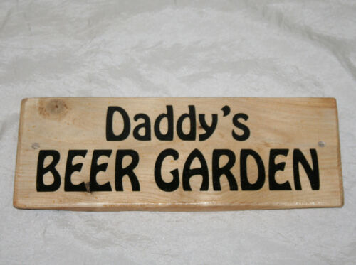 Personalised BEER GARDEN Man Cave Shed Garage Bar Sign Plaque Rustic Wood Funky