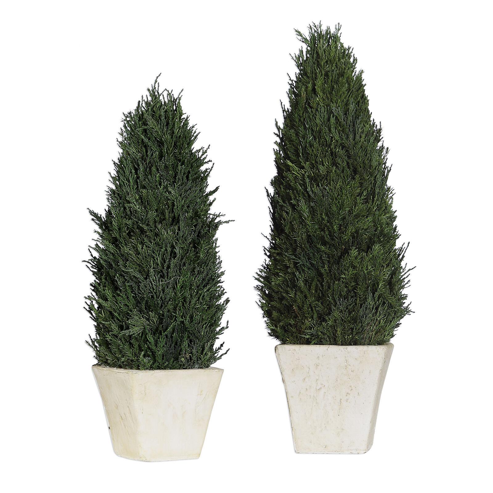 Classic Cypress EverGrün Topiary Set 2 Cone Pyramid Stone Pot Grünery European