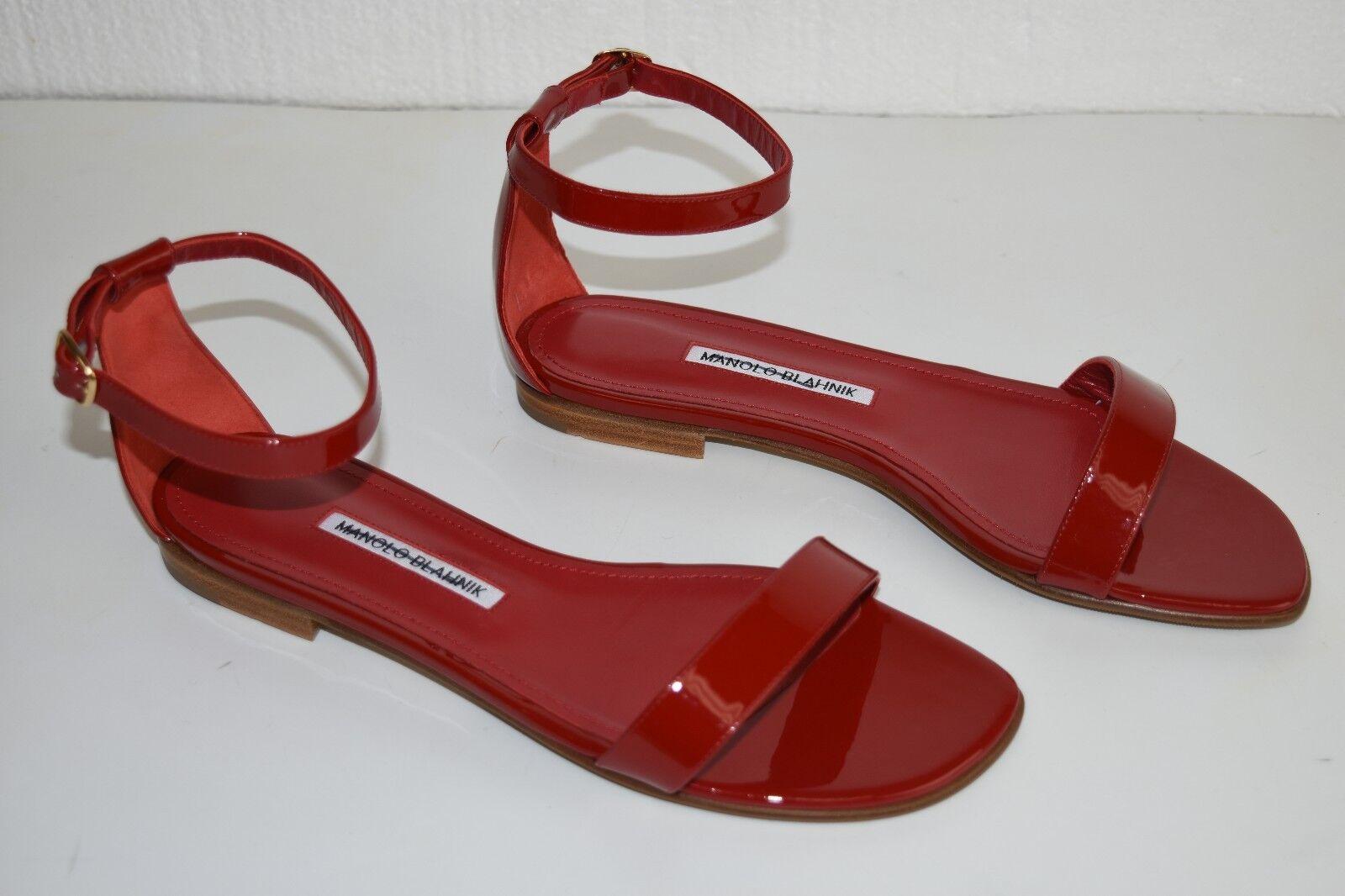 New manolo blahnik flat shiny chafla patent red sandals 40 40.5