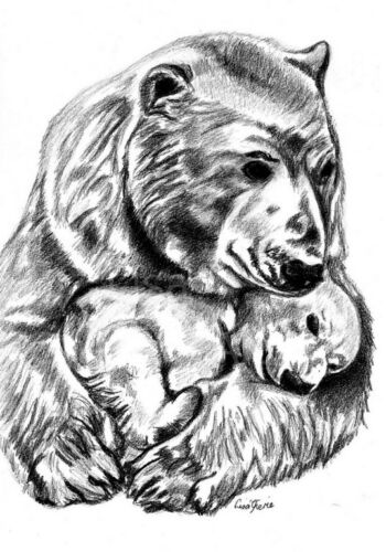 Mother Baby Polar Bear Animal nursery prints baby shower,art Wolf Fox Prints