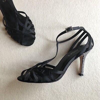 'MIDAS' Black SATIN Strappy T Bar ANKLE Strap DIAMANTE Stiletto HEELS Size 36 6 | eBay